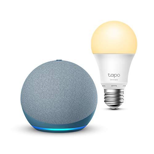 Echo Dot (4.ª generación), Azul grisáceo + TP-Link Tapo Bombilla Inteligente (E27), compatible con Alexa