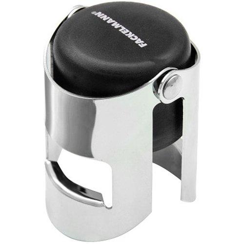FACKELMANN Sektflaschenverschluss 3,5x5,5cm aus ABS/Metall verchromt, Kunststoff, schwarz/Silber, 5.5 x 3.5 x 3.5 cm