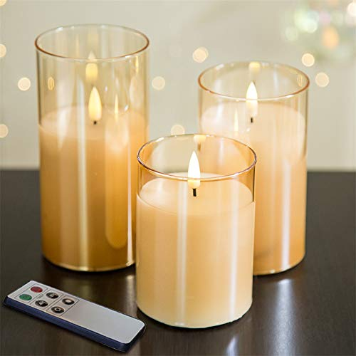 Eywamage Gold Glass Flameless Pillar Candles with Remote D 3' H 4' 5' 6', Flickering LED Candles Battery Operated 3 Pack
