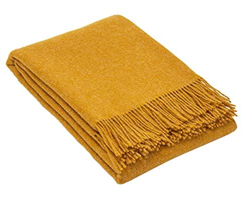 Nostra Woll Decke ZELANDIA | 100prozent Wolle | Sofadecke | Warme Decke | Ideal für Babys | Angesagte Decke | Melange Senf Decke | 140x200 cm