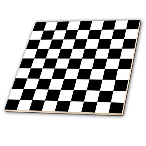 3dRose Check Black and White Pattern-Checkered Checked Squares Chess Checkerboard or Racing Car Race Flag-Ceramic Tile, 12