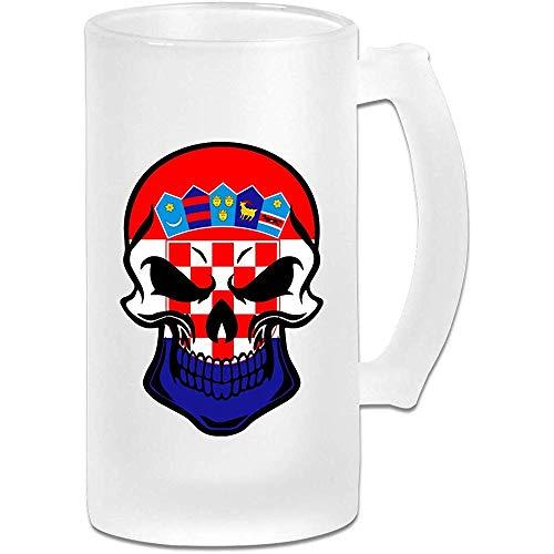 Kroatische vlag schedel Frosted glas Stein bier mok, pub mok, drank mok, geschenk voor bier Drinker, 500Ml (16.9Oz)