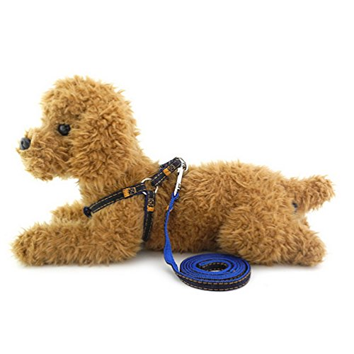 SMALLLEE_LUCKY_STORE Dog/Cat Heavy Duty Adjustable Durable Leash Denim Harness for Training, Blue, Small