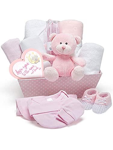 Neuer Babyparty Geschenkkorb in Rosa - mit Fleece, Kapuzenhandtuch, Babykleidung, 2 Mulltüchern und süßem Teddybär - Taufgeschenke für Mädchen oder Junge