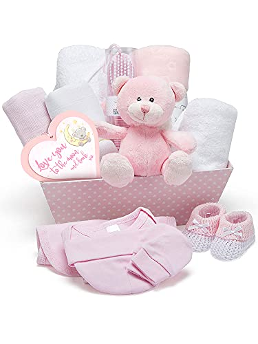 Cesta Regalo Bebé Niña Color Rosa - Con Manta de Forro Polar, Toalla con Capucha, Ropa Bebé, 2 Muselinas Bebé y Osito de Peluche