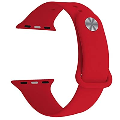 Yimzen Soft Silicone Sport iWatch Band Strap for Apple Watch Series 3 2 1 Sport & Edition 42mm S/M Red