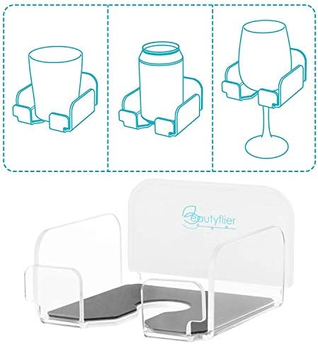 Beautyflier Wine Glass Holder Bath and Shower Acrylic Cupholder for Wine Beer Coffee and Beverage product image
