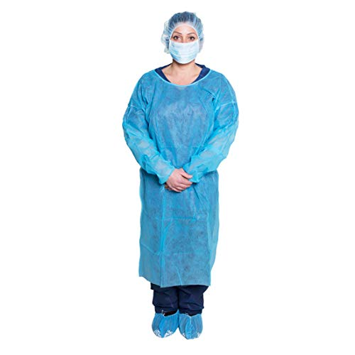 Dukal Isolation Gown, Non-Sterile, Blue (10 Bags of 5) (Pack of 50)