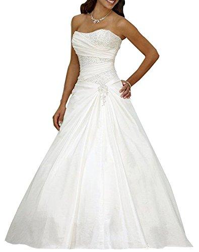Erosebridal Neu Weiß Satin Brautkleid Hochzeitskleid Abendkleid Ballkleid DE38