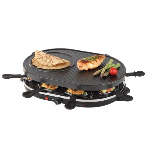 Korona 45000 Raclette-Grill-klassisch schwarz-für 8 Personen 1200 Watt, 18/10 Stahl