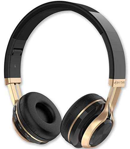 Aduro Resonance Bluetooth Wireless Headphones with Microphone Foldable Over The Ear Headphones with Mic Rechargeable Wireless Headset - Black/Gold