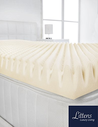 Littens 2' (50mm) Deep Double Bed Size Visco Memory Foam Mattress Topper Profile, Egg Shell Crate Box, Orthopaedic, Support, Plain Relief (4ft6, 137cm x 190cm)