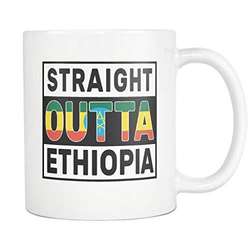 Straight Outta Ethiopia - Bandera de Etiopía divertida taza de café blanca - Día de la Independencia Patrimonio de la familia - Regalo de mujeres hombres amigos - Impresos en ambos lados (angustiado)