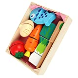 TOYANDONA 1 Juego de Cortar Juguete de Comida para Niños Cocina Accesorios de Frutas Y Verduras con Cesta de Madera Juguetes de Cocina para Niños Pequeños Regalo de Cumpleaños