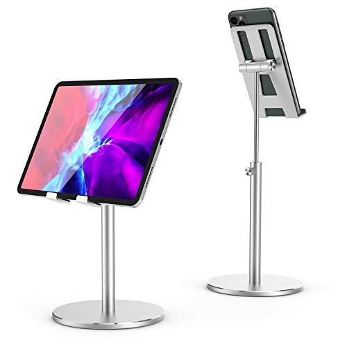 SHINEVI Soporte de teléfono celular para computadora, altura ajustable en ángulo, soporte de iPad de aleación de aluminio, soporte para teléfono celular, compatible con iPhone,...