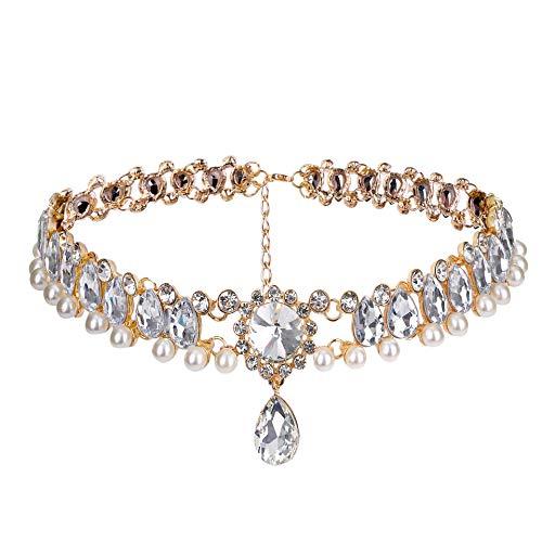 Fashion Womens Pearl Collar Crystal Diamond Chunky Choker Pendant Bib Necklace…