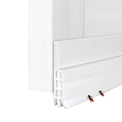 Porta Guarnizione inferiore Weather Stripping Per Il Fondo Della Porta Blindata Doccia Striscia Della Porta In Silicone Con Buon Sigilli (100 x 5cm, 2Pcs, Bianco)