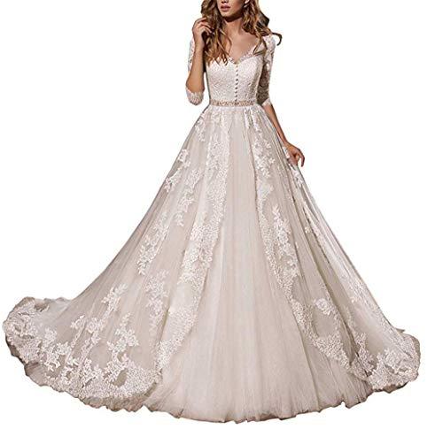 HUINI Brautkleider Hochzeitskleider Standesamt Damen Spitzen Lang Brautmode Trauung Prinzessin A-Linie Brautkleid Schlicht Elfenbein 54