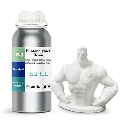 SUNLU 3D Printer Rapid Resin LCD UV-Curing Resin 405nm Standard Photopolymer Resin for LCD 3D Printing 500 gram, White