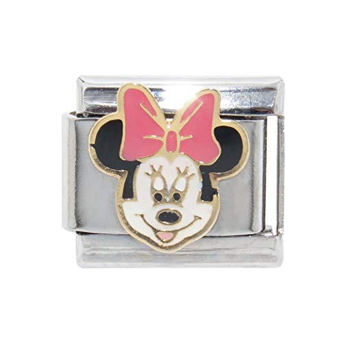 Italian charm Minnie Mouse with Light Pink Bow - 9mm fits Classic Bracelets