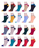 Women's Low Cut/No Show Socks 20-Pack Running Athletic Ankle Socks Assorted Colors Size 9-11 - Shoe Sizes 5-9 (Assortment #7) -  BRIGHT STAR