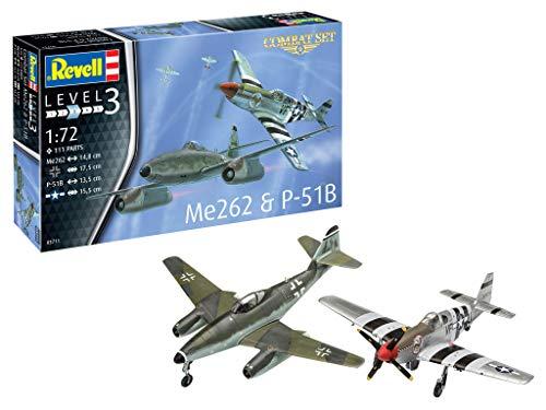 Revell RV03711 3711 Combat Set Me262 & P-51B originalgetreuer Modellbausatz für Einsteiger, unlackiert