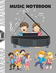 MUSIC NOTEBOOK: Piano Music Notebook For Kids, Blank Sheet, Wide Staff, 6 staves per page, 120 pages, 8.5 x 11, Gray Background Cover