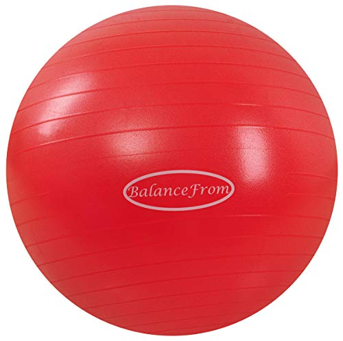 BalanceFrom Anti-Burst and Slip Resistant Exercise Ball Yoga Ball Fitness Ball Birthing Ball with Quick Pump, 2,000-Pound Capacity (38-45cm, S, Red)