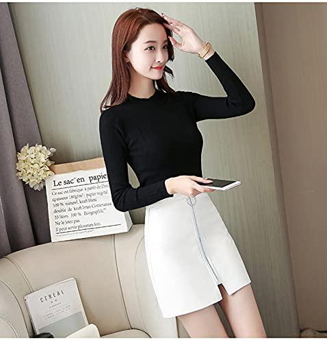 Falda Corta Plisada Tenis Mujer Niñas Primavera Verano Casual PU Falda De Cuero Mujer Elegante Cremallera Mini Falda A-Line Dama Flaca Faldas De Cintura Alta Negro