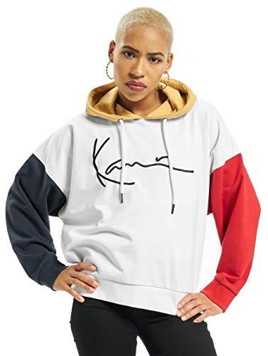 Karl Kani Signature Block Hoodie Ladies Sweatshirt White-Blue-Red