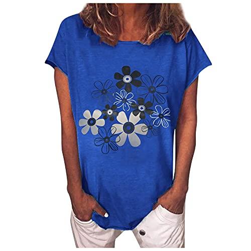 Blusa de verano para mujer, camiseta básica de verano, elegante, suelta, informal, manga corta, cuello redondo, túnica, Azul A., M