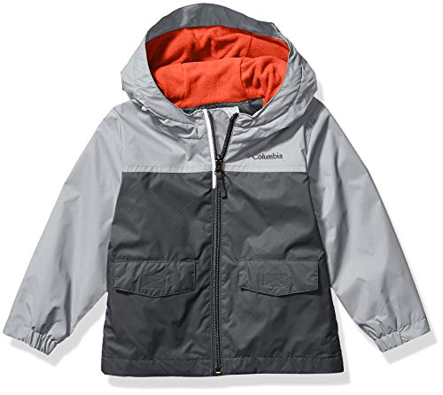 Columbia Boys' Big Rain-Zilla Jacket, Grill/Slate Grey, Large