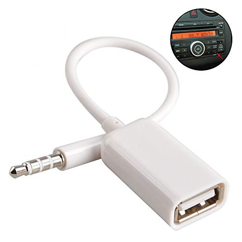 AUX to USB 3.5mm Male Aux Audio Jack Plug to USB 2.0 Female Converter Cable Cord Converter Cable (Notice Only Work for Car AUX Port )(CAR Need MP3 Decode Function,IF NOT,Don't Buy)