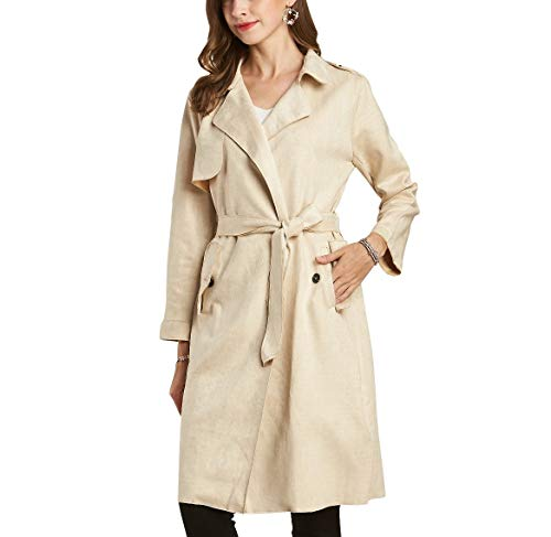NOBLEMOON Pink Trench Coat, Ladies Cute Modern Casual Fall Trench Coat for Women