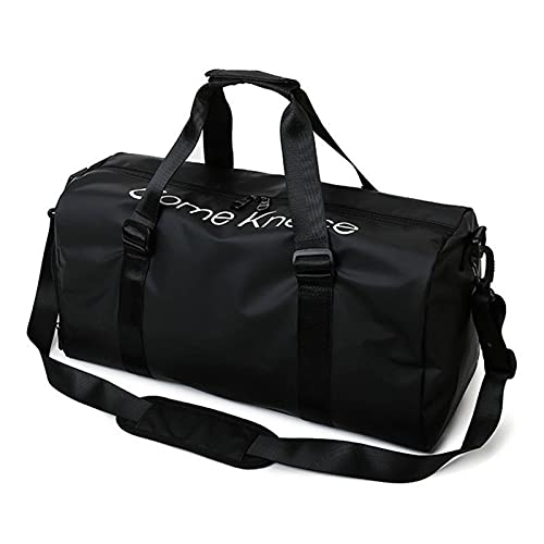 New Multi-functiona Light Luggage Bag Travel Clothes Storage Bags Zipper Suitcase Waterproof Oxford Travel Duffels With Shoes (Color : Black)