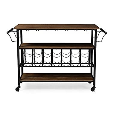 Baxton Studio Bradford Rustic Industrial Style Antique Textured Metal Distressed Wood Mobile Kitchen Bar Serving Wine Cart, Black