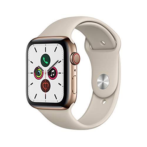 Apple Watch Series 5 (GPS+Cellular, 44 mm) Cassa in Acciaio Inossidabile Oro e Cinturino Sport - Tortora
