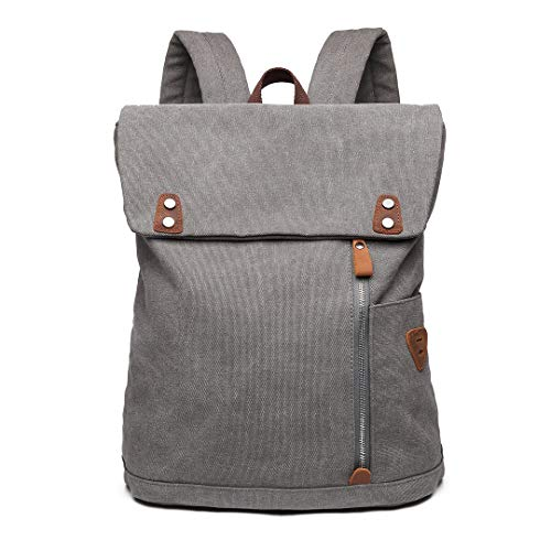 Wxnow Men Vintage Canvas Backpack Laptop School Military Travel Hiking Camping Rucksack Grey