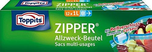 Toppits Zipper, 1 Liter, Reißverschluss, 12 Stück, Transparent