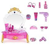 PROTOY Juego de 22 juguetes de maquillaje para niñas, con accesorios, luz y arcilla, rosa, para niñas a partir de 3 años