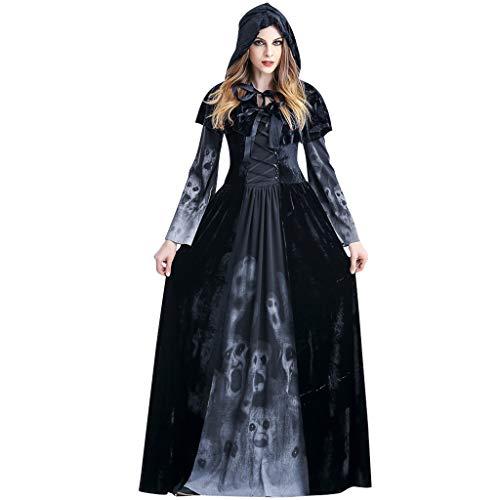 PROTAURI dames vrouwen Halloweenkostuum Vampier - koningin heks kostuum met mantel Cosplay Cosy Black Ghost Zombie Party Outfits Small zwart