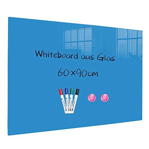 XIWODE Magnettafel aus glas, beschreibbare und magnetische Magnetwand in Blau, Pinnwand Tafel mit Sicherheitsglas, 90x60cm