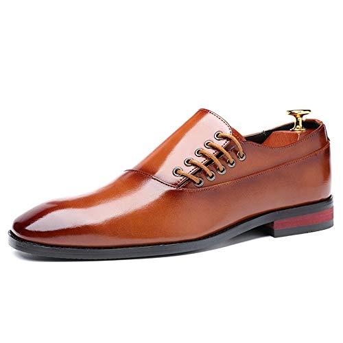 YLH Fashion Business Kleid Herren Schuhe der neuen klassischen Leder Herrenanzüge Schuhe Mode-Beleg auf Lederschuhe Männer Oxfords (Color : Brown, Shoe Size : 39 EU)