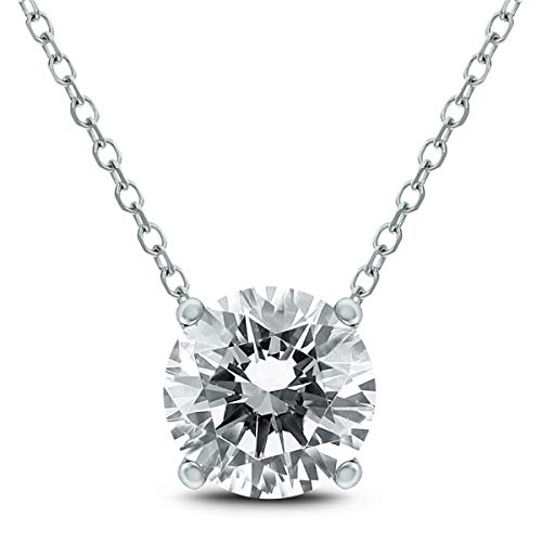 AGS Certified 1 Carat Floating Round Diamond Solitaire Necklace in 14K White Gold