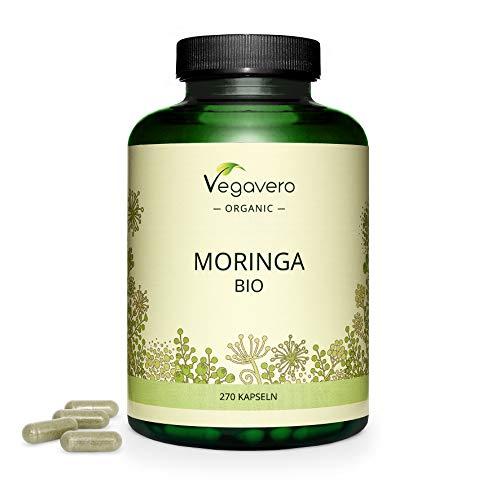 BIO Moringa Oleifera Vegavero® | Ahora Dosis Diaria Mayor: 1800 mg | 270 CÁPSULAS | Superfood: Proteínas, Vitaminas, Minerales y Omega 3 | Antioxidante | SIN ADITIVOS | Vegano