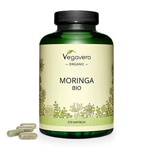 Moringa Oleifera BIO Vegavero®   1800 mg par Dose   270 Gélules   Superaliment : Source Naturelle de Protéines, Vitamines et Minéraux   Antioxydant + Énergie + Ayurveda   Sans Additifs   VEGAN