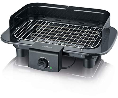 SEVERIN PG 9710 Barbecue-Grill (2.300W, Inkl. Fussball, Tischgrill, Grillfläche, 37x23cm) schwarz