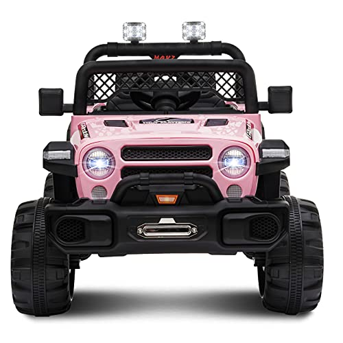 OTTARO 12V Ride on Cars Truck Electric Car for Kids,12V Battery Powered Vehicle with Remote Control, MP3,LED Lights, Spring Suspension, 2 Doors Open (Pink)