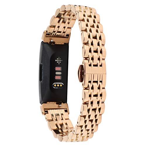 Tencloud Correas compatibles con Fitbit Inspire 2, correa de metal de acero inoxidable ajustable de repuesto para Inspire HR/Inspire 2/Inspire Fitness Tracker (oro rosa)