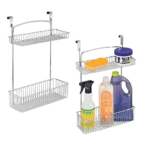 mDesign Metal Farmhouse Over Cabinet Kitchen Storage Organizer Holder or Basket - Hang Over Cabinet Doors in Kitchen/Pantry - Holds Dish Soap, Window Cleaner, Sponges - 2 Pack - Chrome